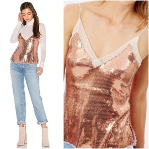 Free People Intimately rose gold sequin vneck tank